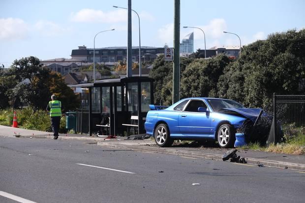 Michael Abou Chaaya's Nissan Skyline at the scene of the crash. Photo NZME