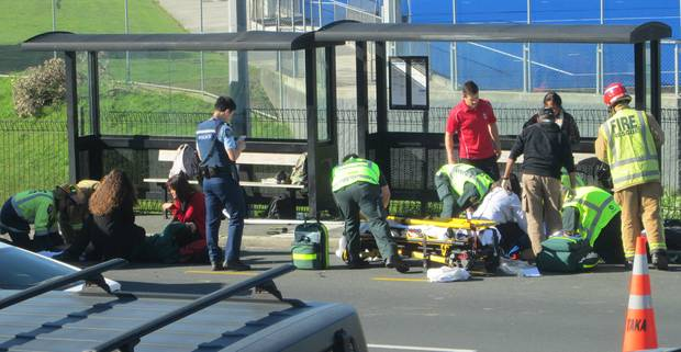 Emergency services respond to the scene of a crash where five people were injured. Photo: NZME