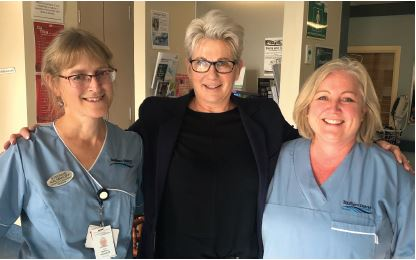 Midwives in arms (from left): Stefanie Kalmakoff, Sue Nash and Penny Coggan