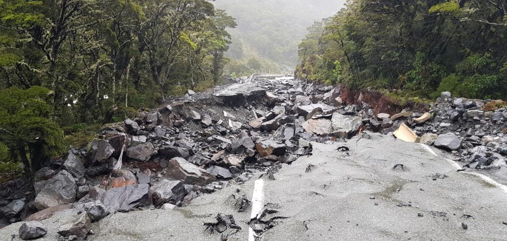The Milford Road - State Highway 94 - is still blocked after flooding and slips last week. Photo:...
