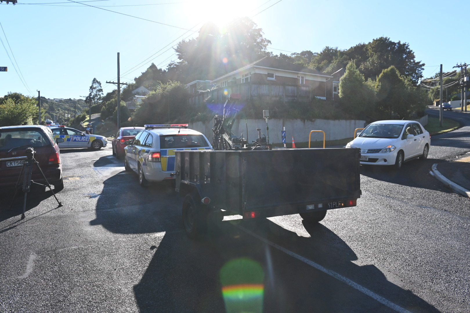 Part of Somerville St in the Dunedin suburb of Andersons Bay was closed this morning as a police...
