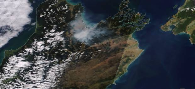Satellite image taken 7 February showing smoke over the Tasman region. Photo / via Nasa