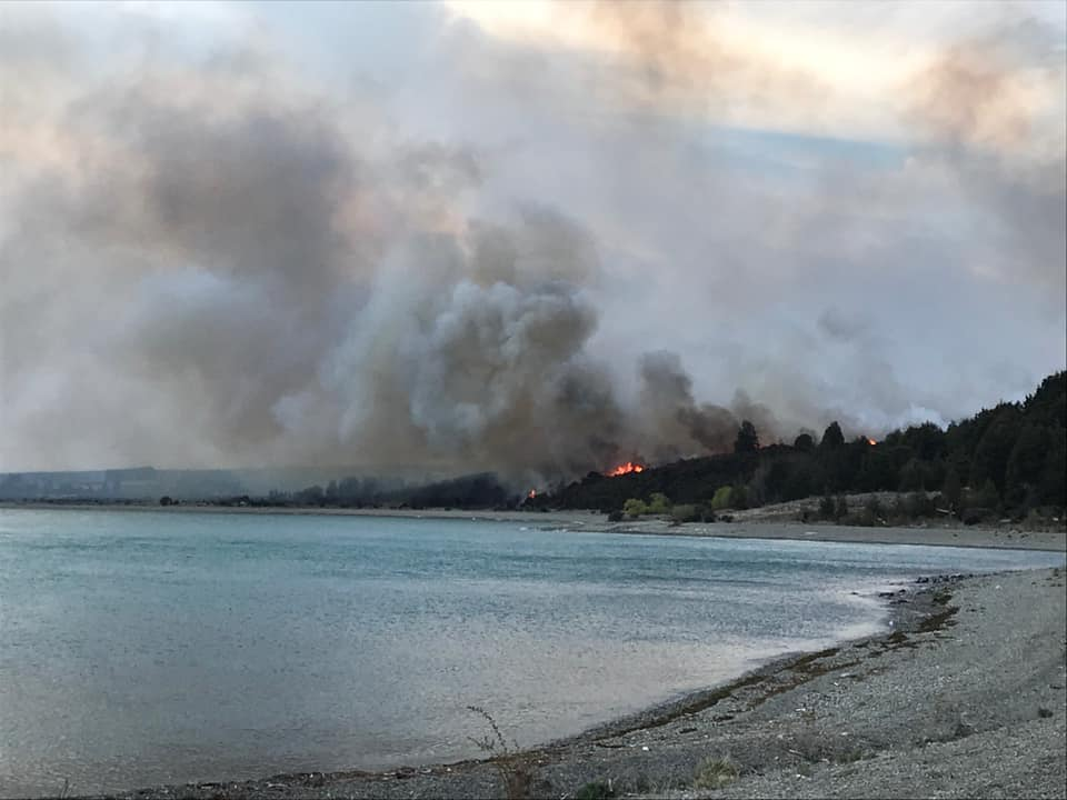 The fire started overnight and was continuing to burn on Sunday. Photo: Supplied/Gary Kircher...