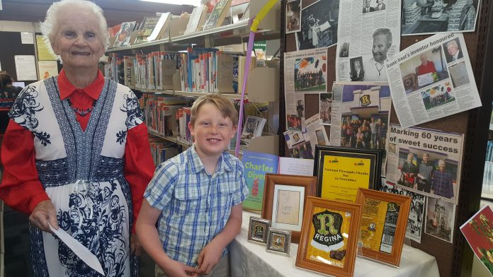 Checking out a display on Charles Diver, the Oamaru man who invented Pineapple Chunks, are his...
