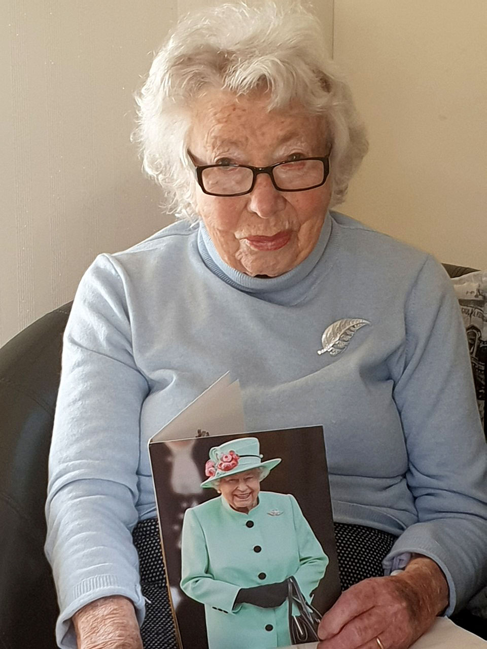 Oonah Shannahan with her congratulatory message from Queen Elizabeth on her 100th birthday. Photo...