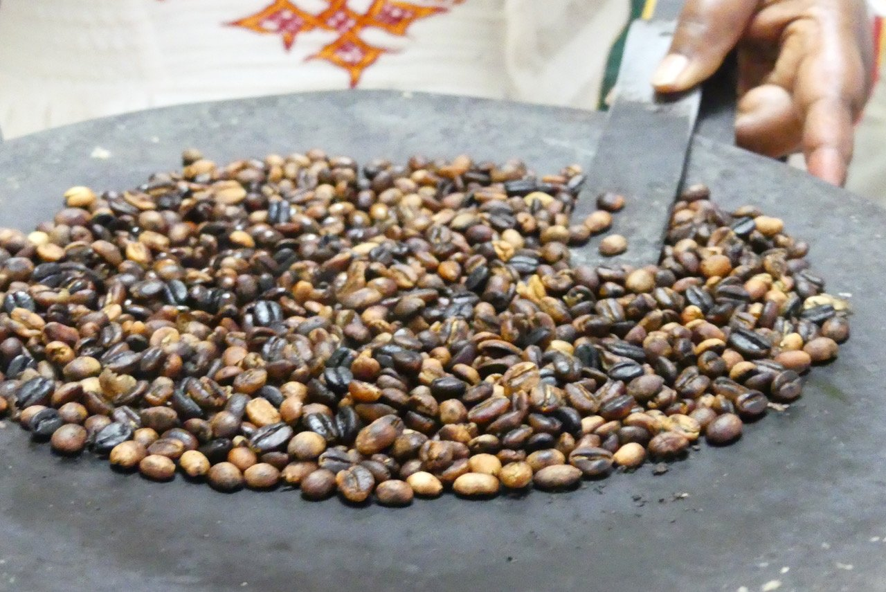 Coffee beans being roasted.