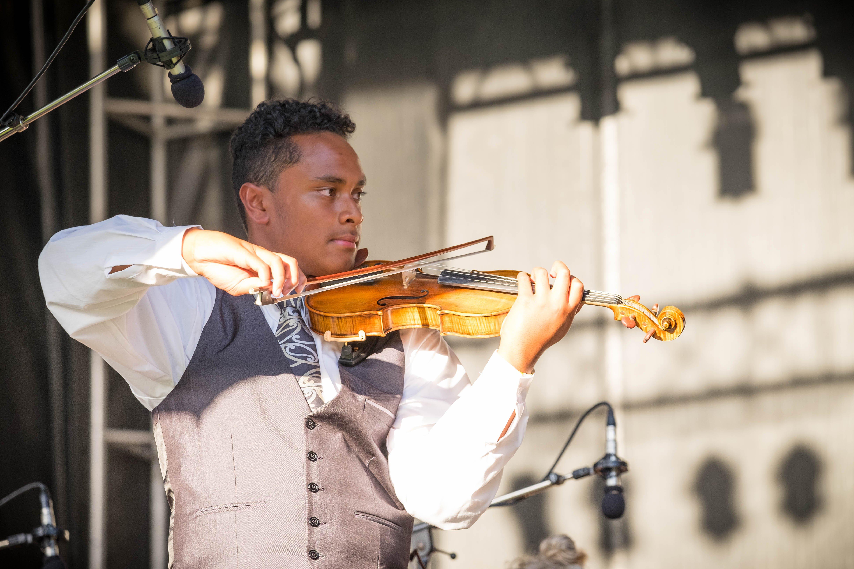 Virtuoso String Orchestra member Toloa Faraimo performs solo. Photo: supplied