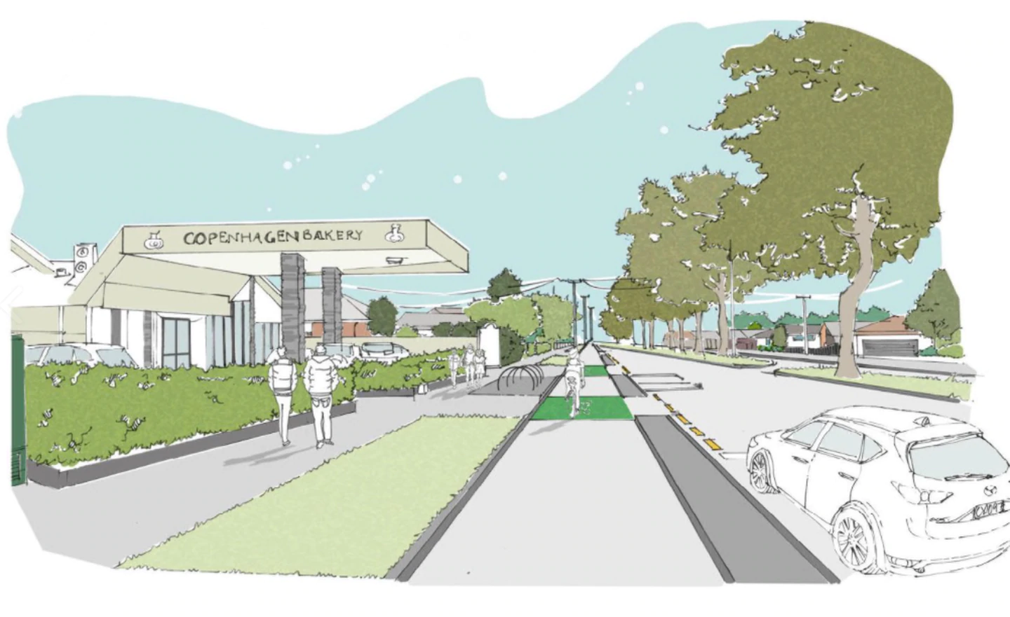 The view of Harewood Rd from the Copenhagen Bakery where it is proposed four lanes be reduced to...