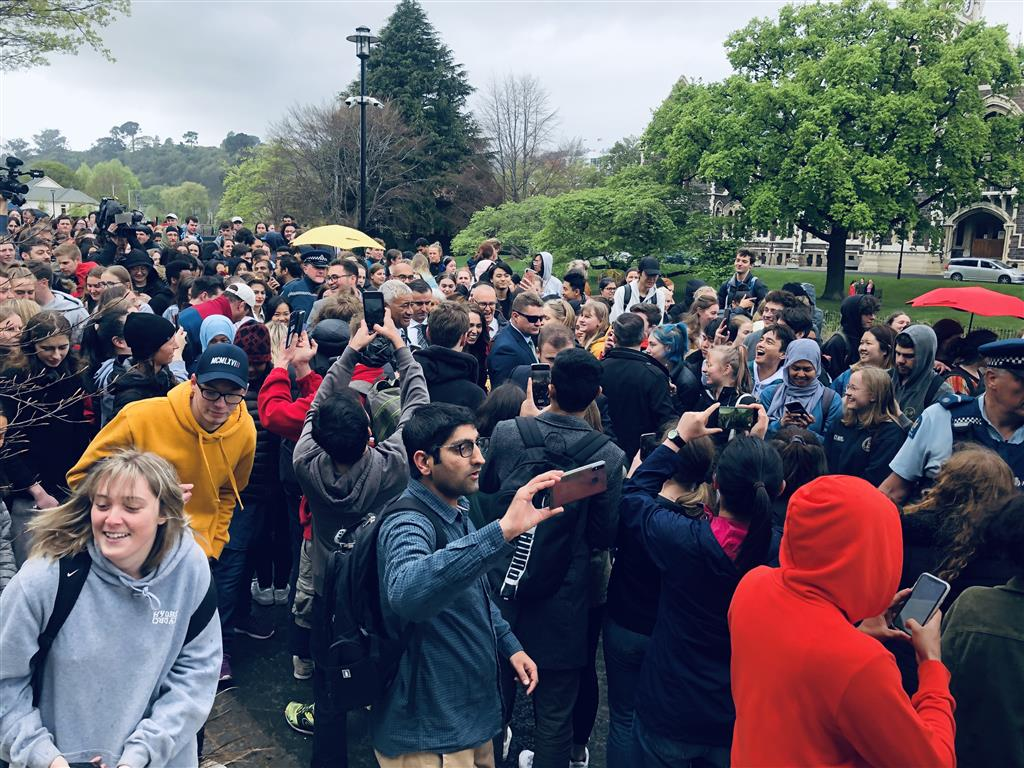 Prime Minister Jacinda Ardern was mobbed by students following her speech at the University of...