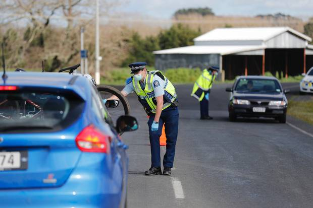 Police checkpoints were quickly set up in Lyon Road near State Highway 2 soon after lockdown took...