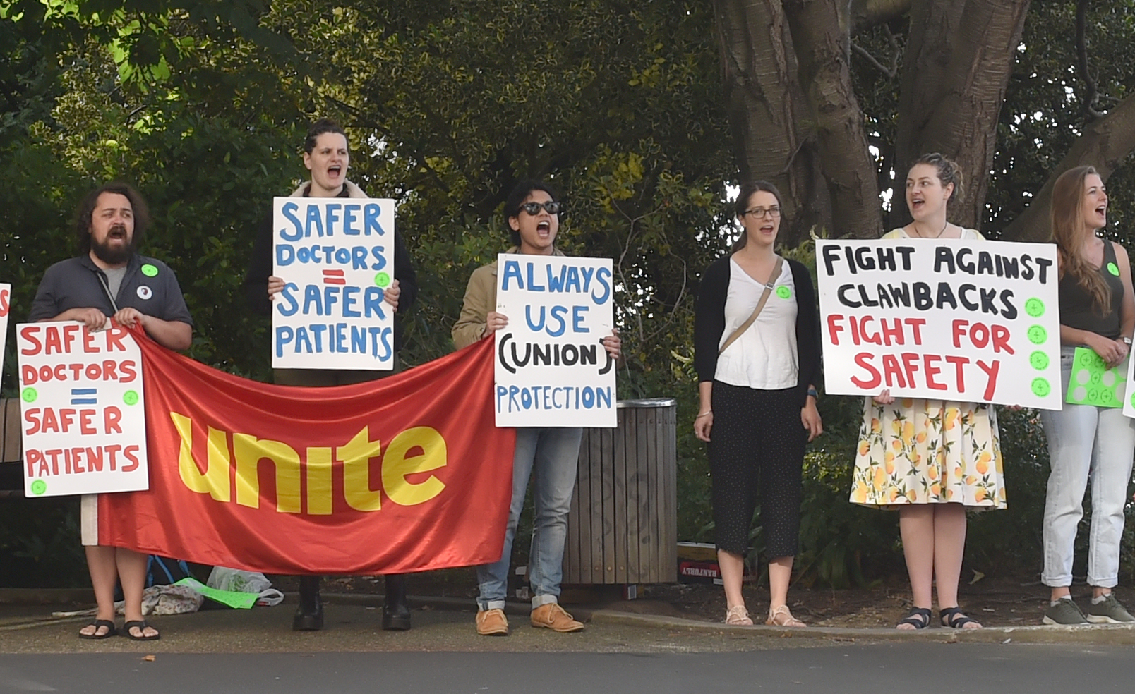 Junior doctors protest on the corner of Gt King St and Hanover St this morning. PHOTO PETER MCINTOSH