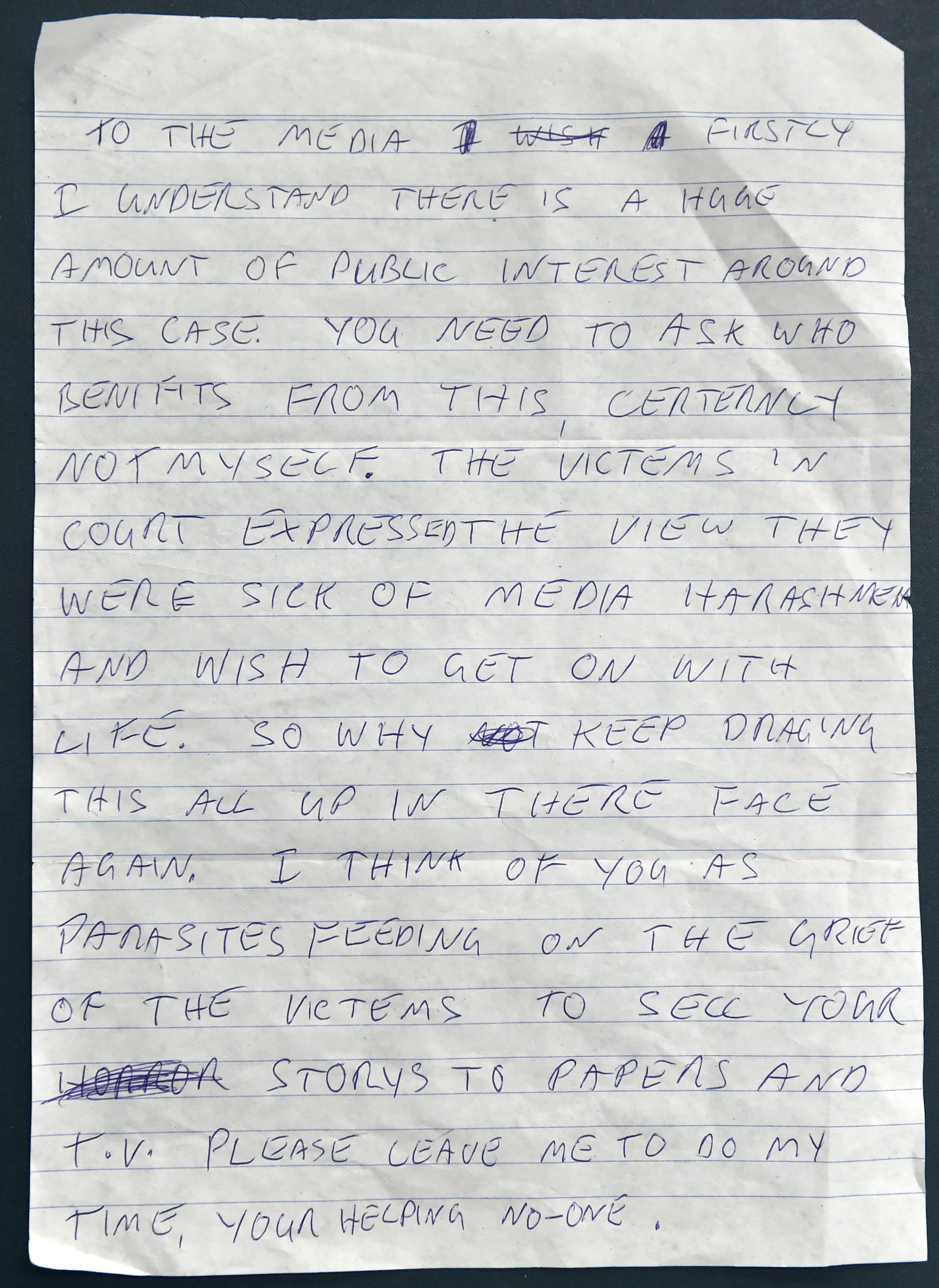 The letter sent by Reg Ozanne to the ODT.