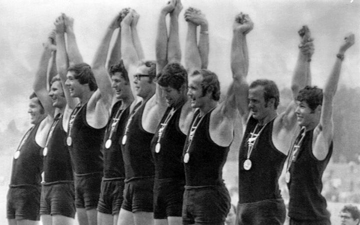 The gold medal winning 1972 Munich Olympics rowing eight.  Athol Earl, third from left, recalls the day Palestinian  terrorist raided the games village.