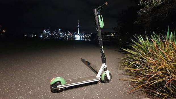 A Lime Scooter spotted at Westhaven Drive, St Mary's Bay, Monday night. Photo: Visual Media...
