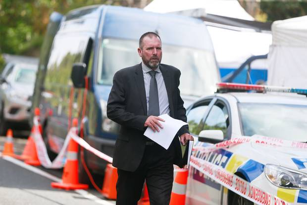 Detective Inspector Scott Beard shortly before he announced to media that Grace Millane's body...