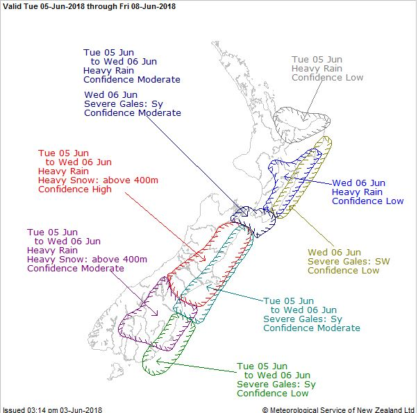 MetService severe weather outlook. Image: MetService