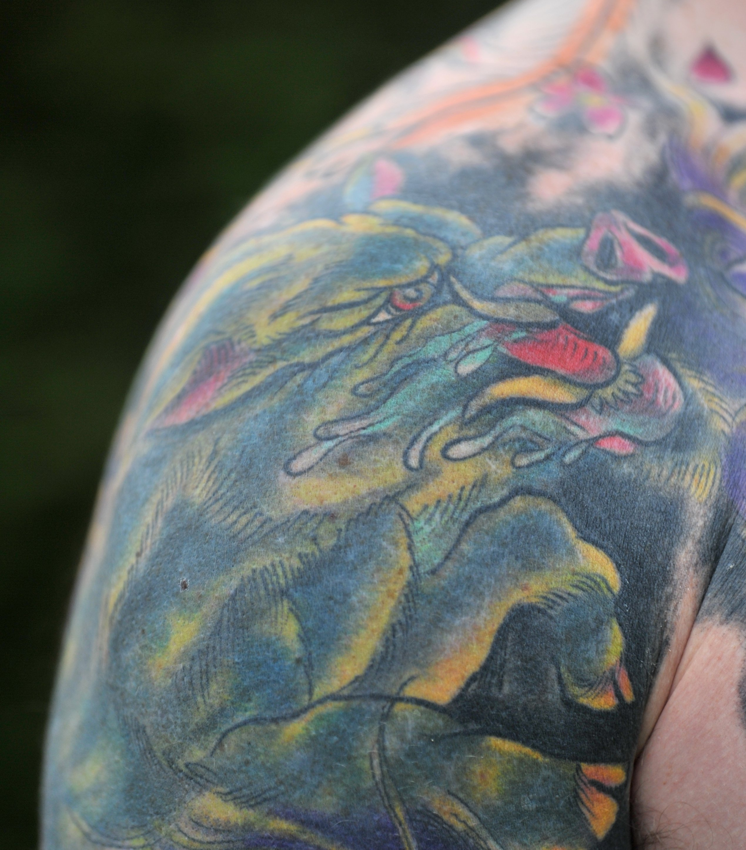 His tattoos represent his family and, with his wife being Vietnamese, the work had an oriental aspect to it. Photo: Christine O'Connor