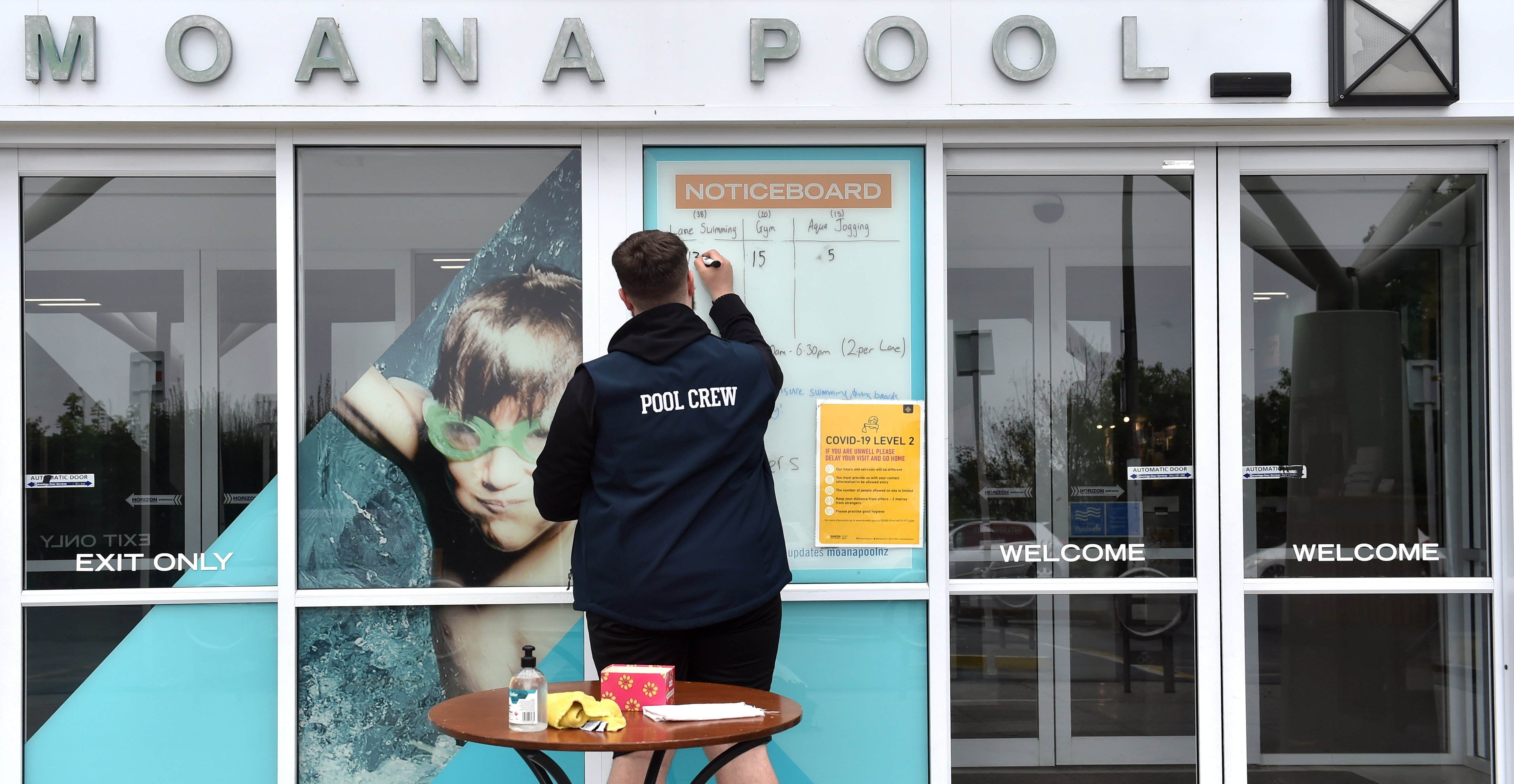 Moana Pool crew member Mark Lieshout prepares the pool's entry yesterday as the South Island went...