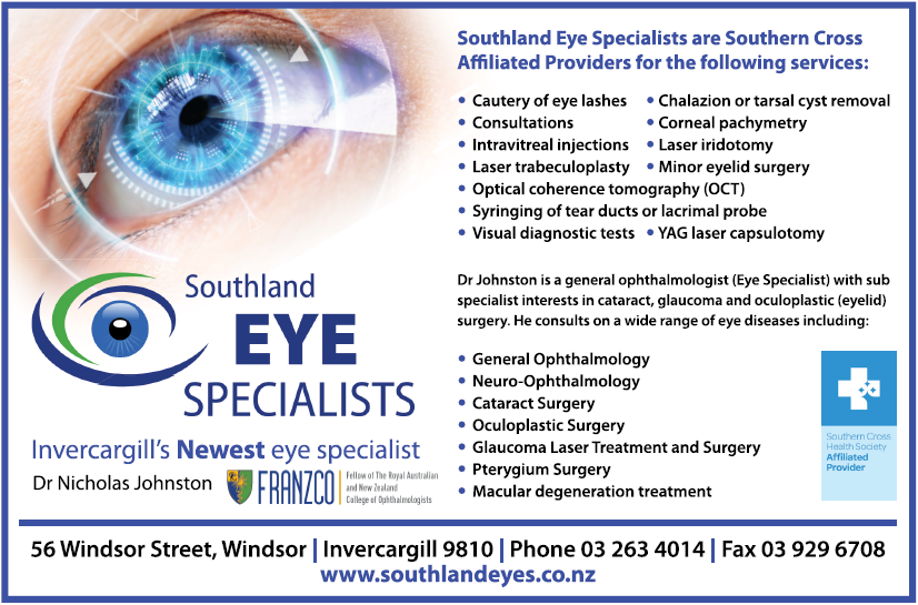 Southland Eye Specialists is Invercargill's newest Ophthalmology Clinic.