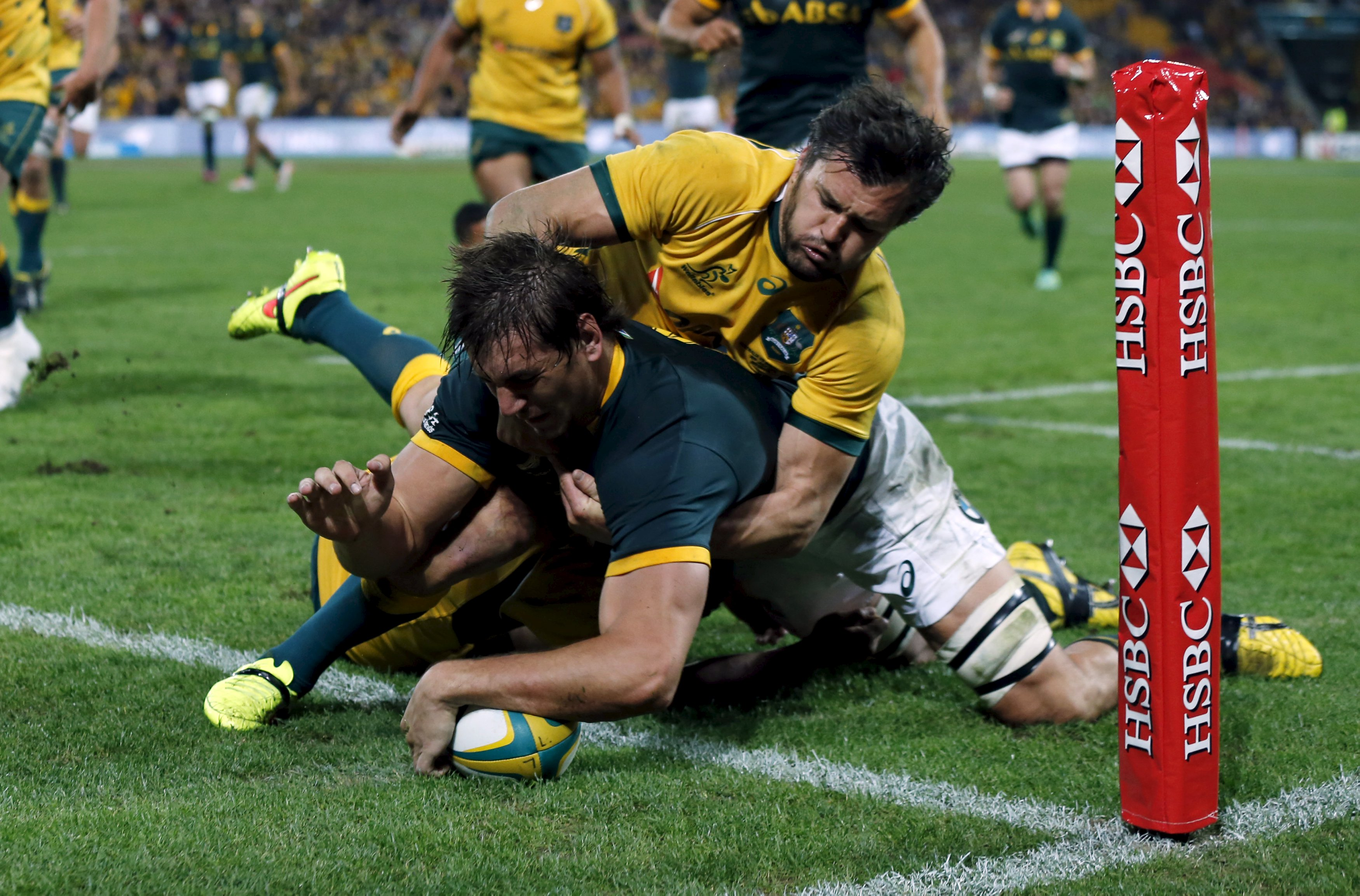 Lock Eben Etzebeth scores for the Springboks in their loss to Wallabies last weekend. Photo by...