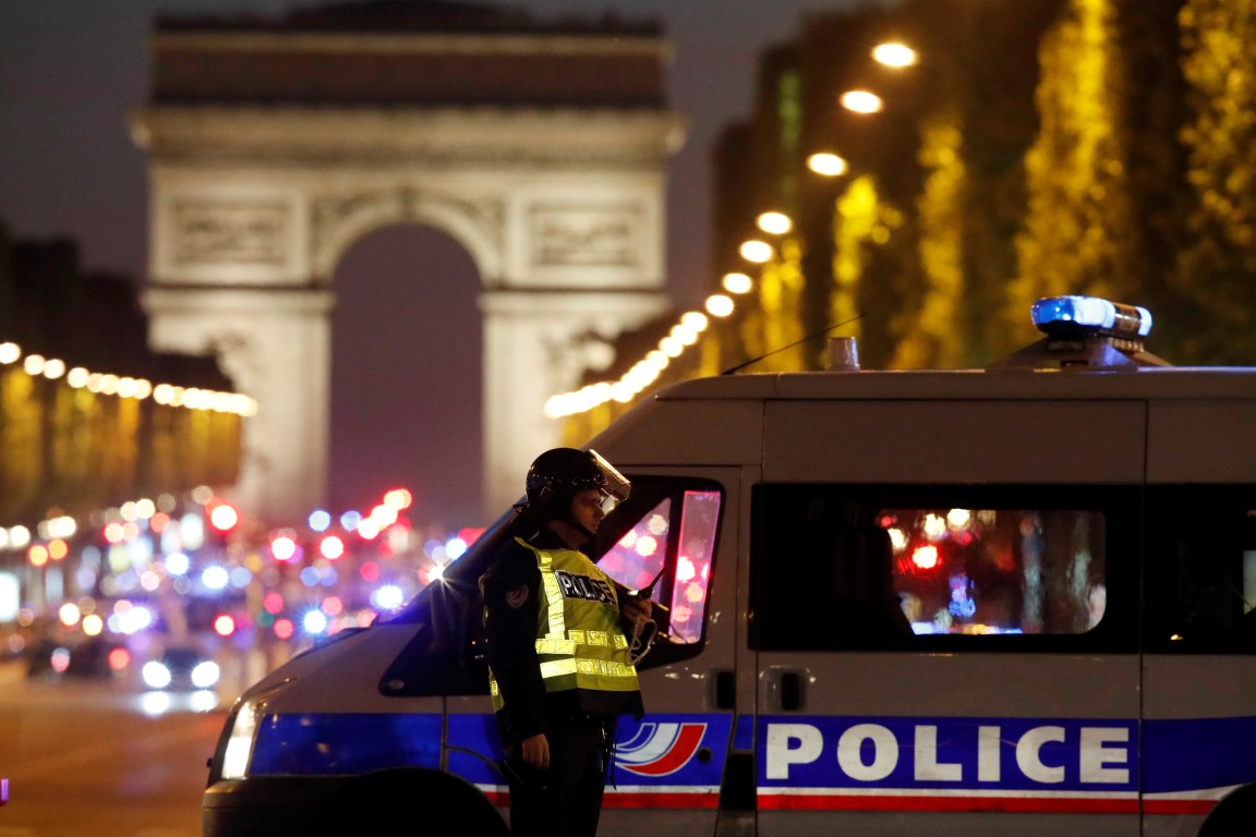 Police at the scene on the Champs Elysees after the incident. Photo Reuters