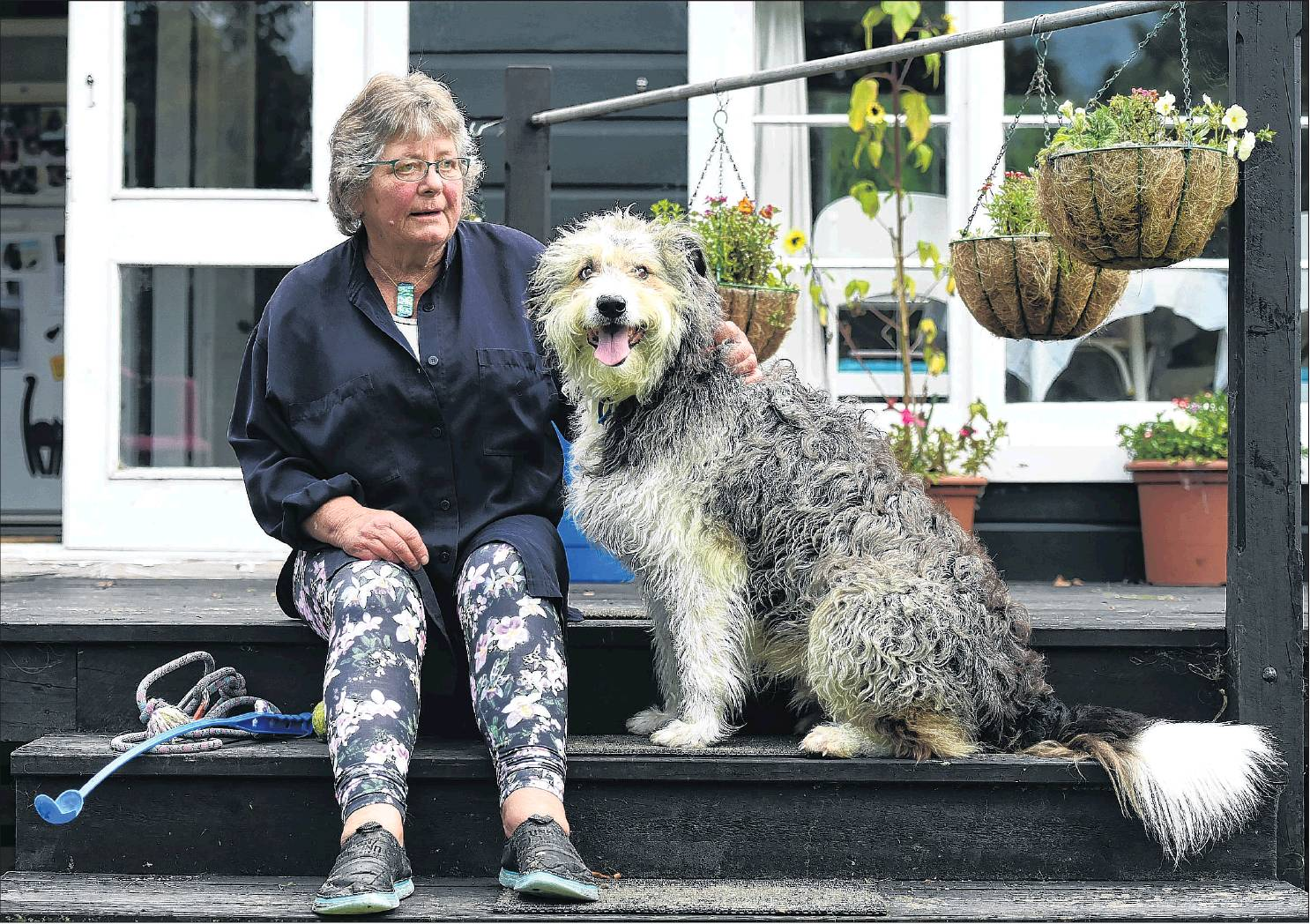 Cate Morrison with her dog Golly in Waitati yesterday. PHOTO: GREGOR RICHARDSON