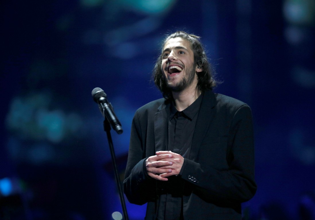 Portugal's Salvador Sobral talks to press after winning Eurovision