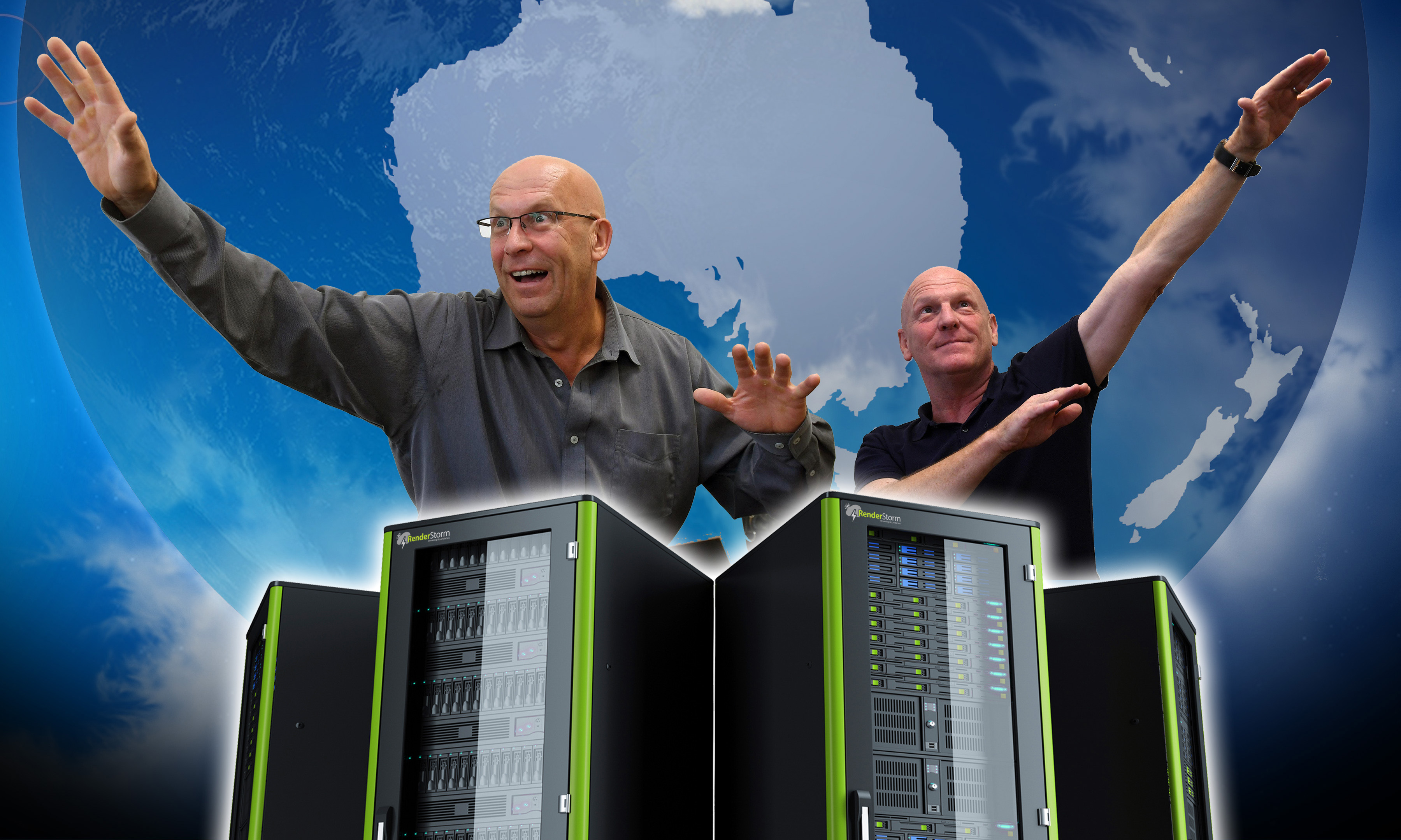 RenderStorm New Zealand manager Andy Thompson (left) and chairman Adrian Thompson are preparing to build a render farm in Dunedin. Photo/Illustration: Stephen Jaquiery/Kurt Erikson.