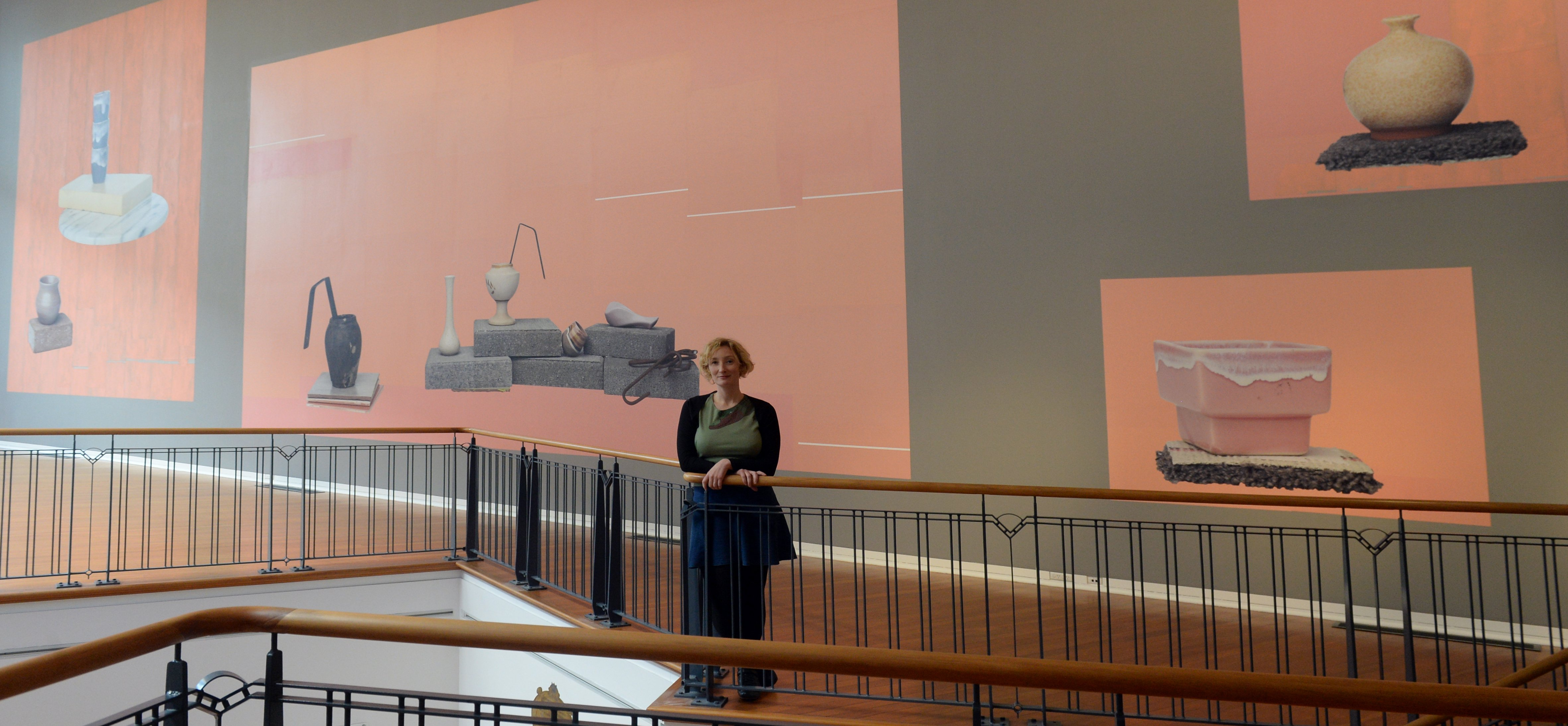 Artist Eve Armstrong stretched herself to make her largest collage yet for the Big Wall at the Dunedin Public Art Gallery. Photo: Linda Robertson.