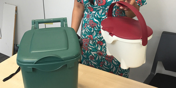 The food waste bin to be used in Auckland. Photo: NZ Herald/Cherie Howie