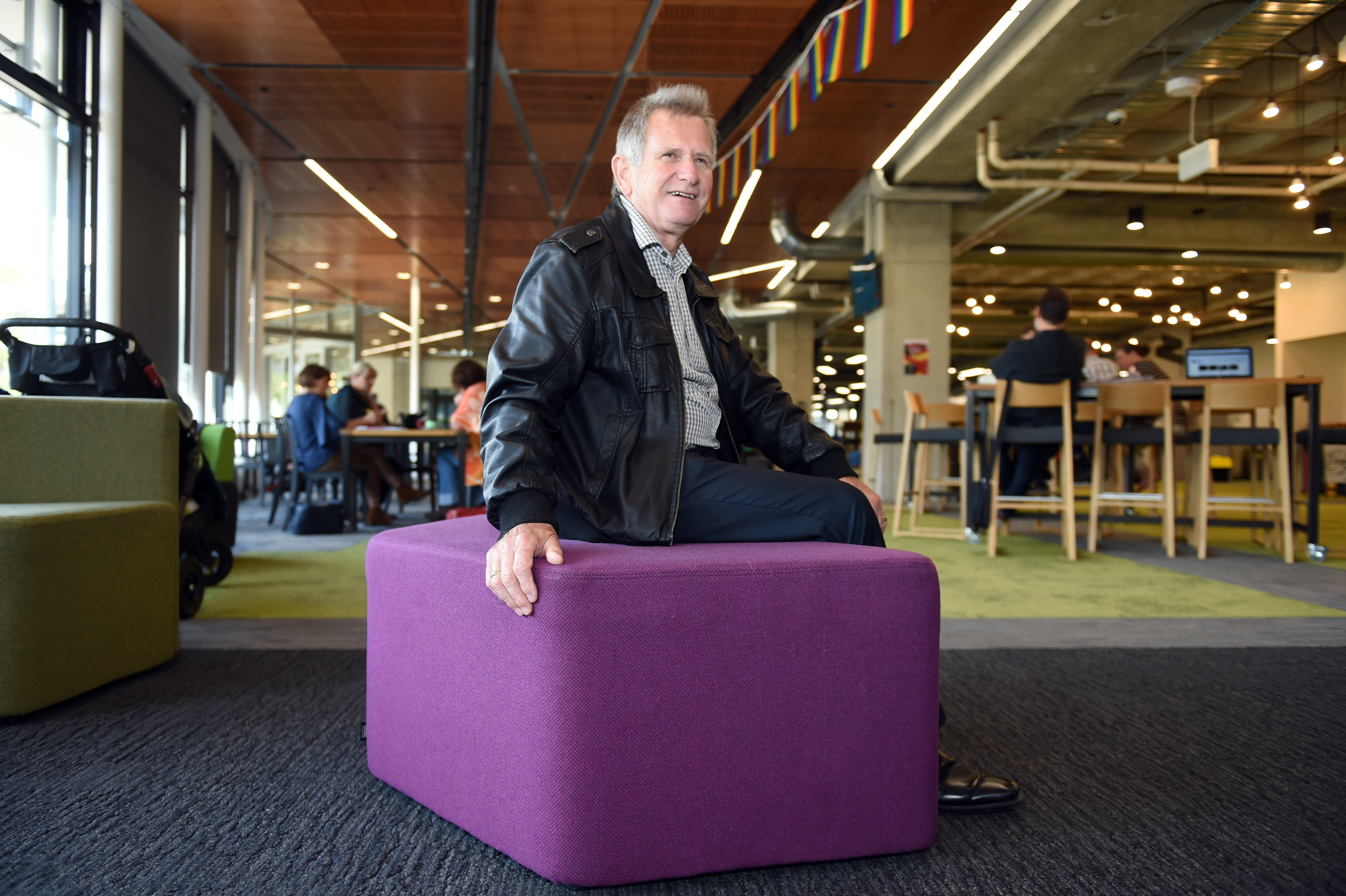 Phil Ker in F Block's Hub, Otago Polytechnic's vibrant centrepiece, completed last year. Photo:...