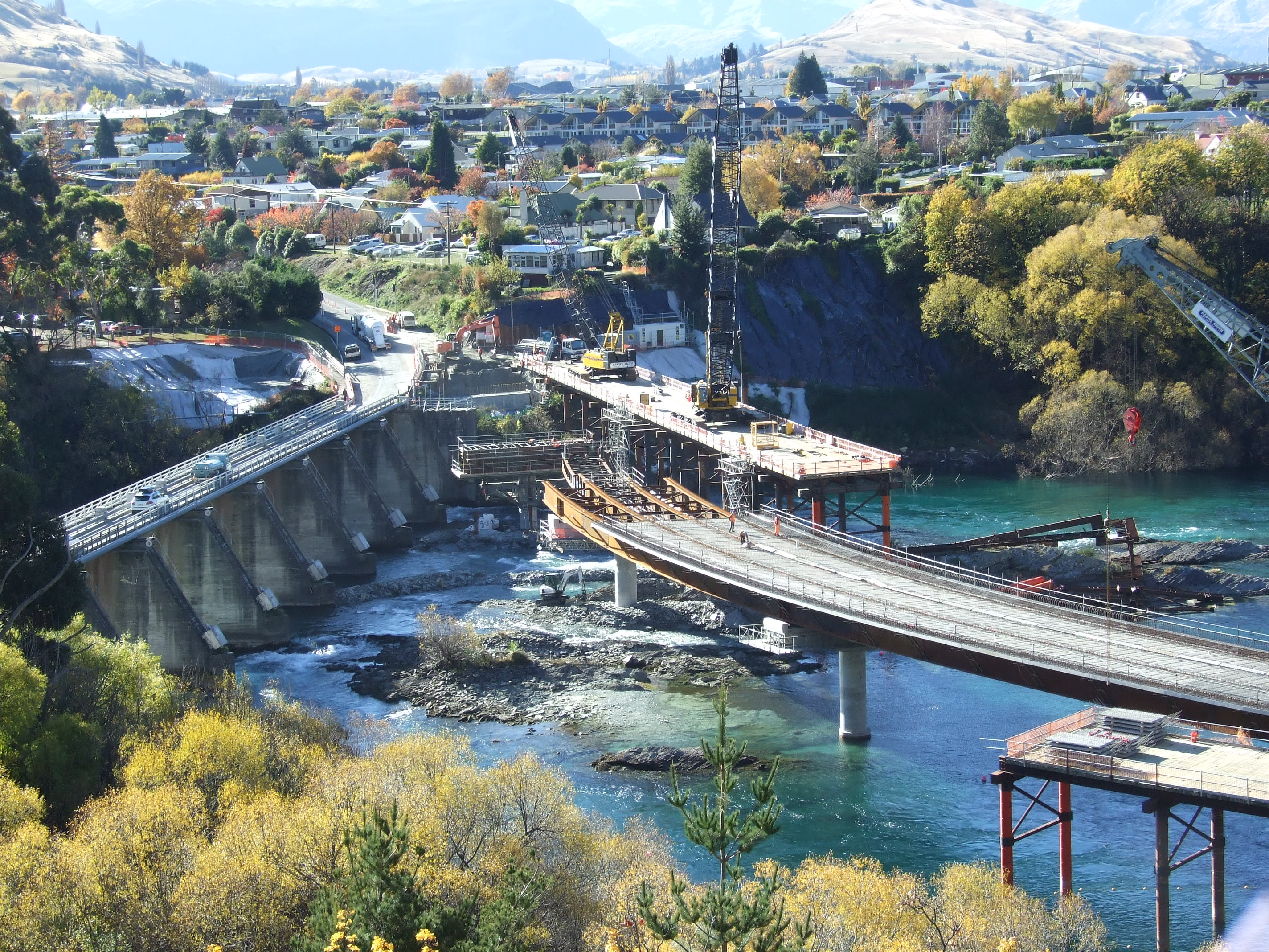 A view of the site of the Kawarau Falls bridge project on Thursday, showing the existing bridge ...