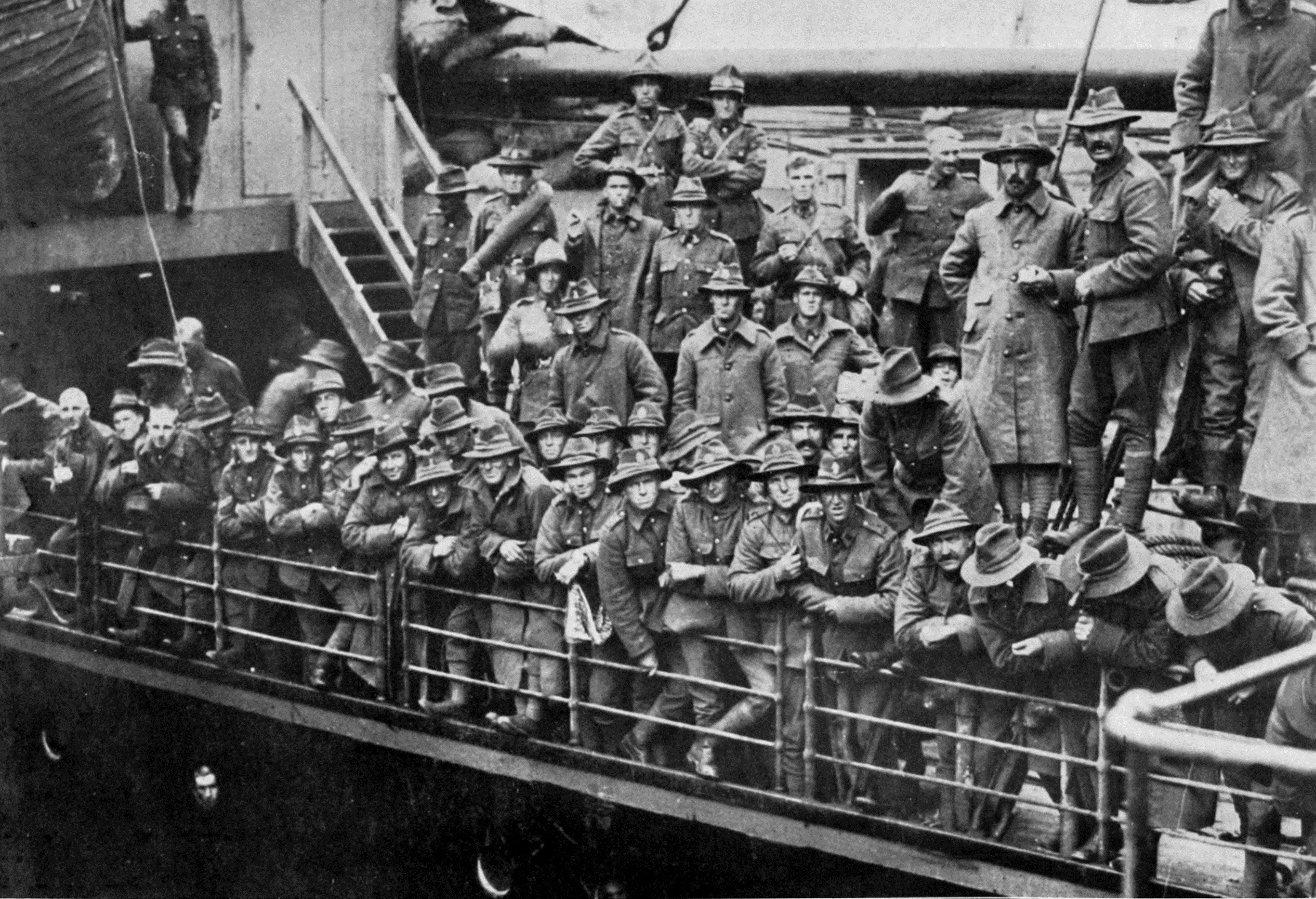 A section of Reinforcements leaving for the front on the deck of a transport ship.- Otago Witness, 9. 5.1917.