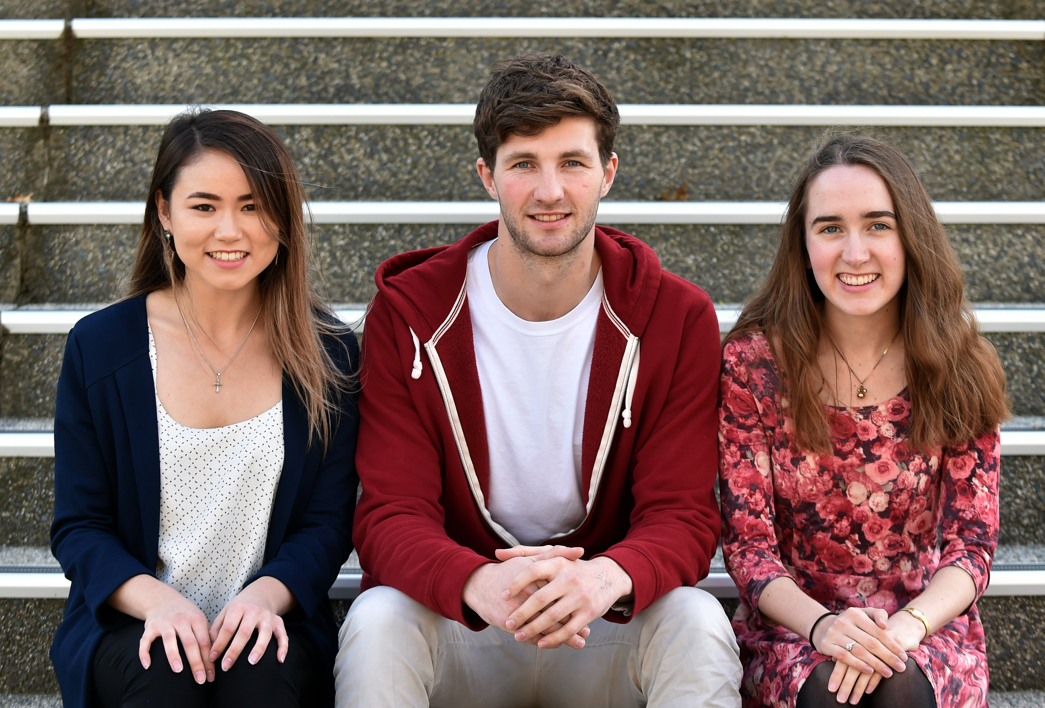 University of Otago students (from left) Mika Smith (20), Sean Boult (23) and Charlotte Steel (21...