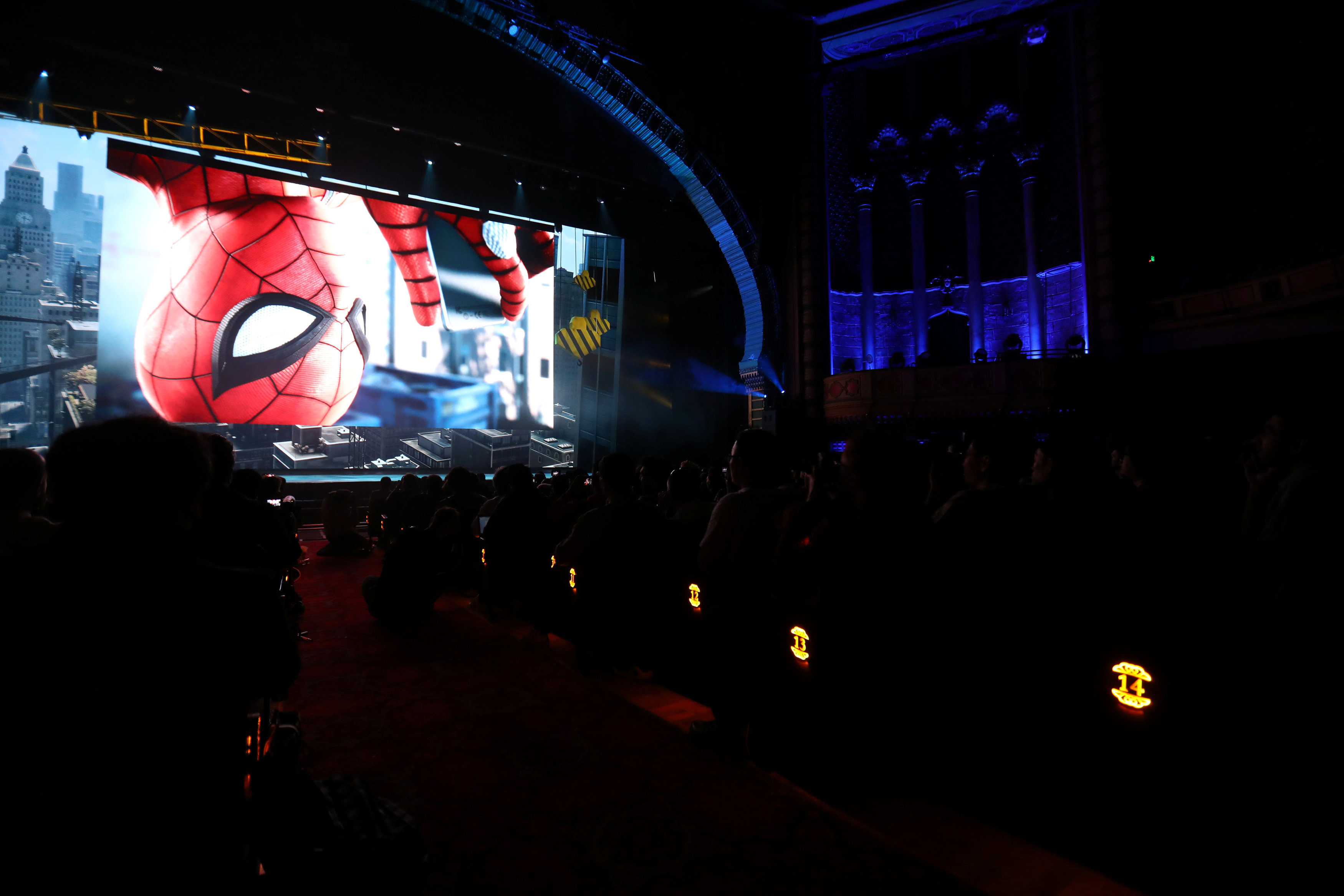 The Spider-man game was unveiled at the Electronic Entertainment expo in Los Angeles.