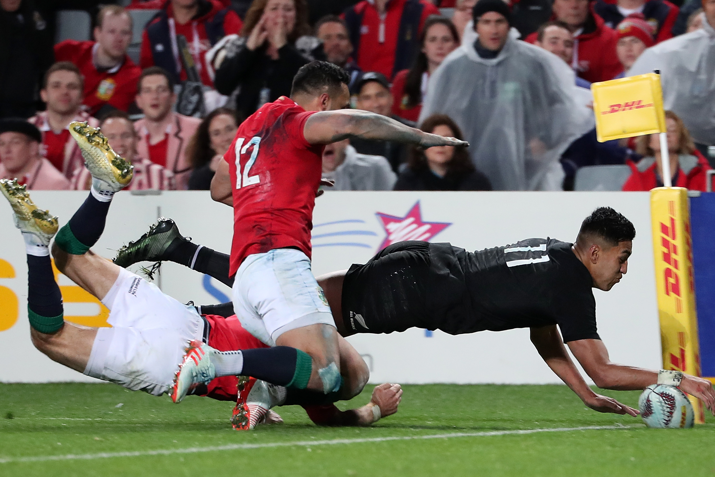 Rieko Ioane of the All Blacks scores a try. Photo: Getty