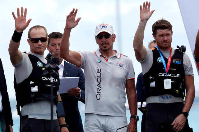Oracle Team USA skipper Jimmy Spithill, Oracle Co-Founder Larry Ellison and Tactician Tom...