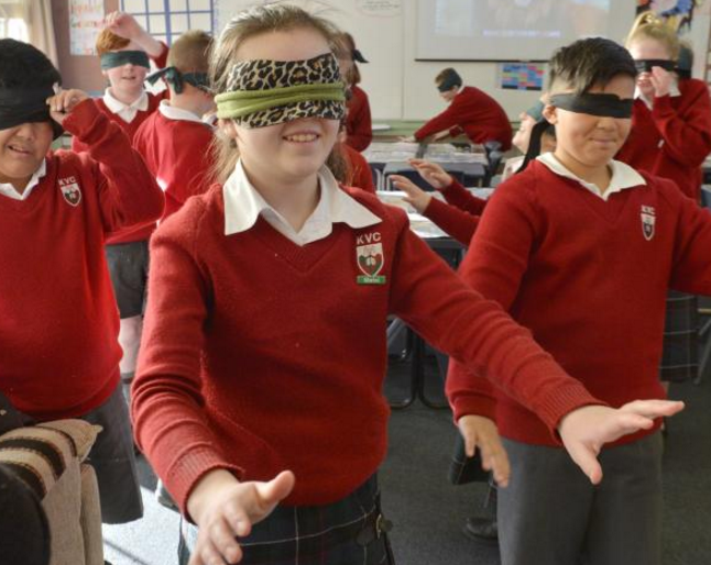 Kaikorai Valley College pupils wearing blindfolds to experience what it is like to be blind (from...