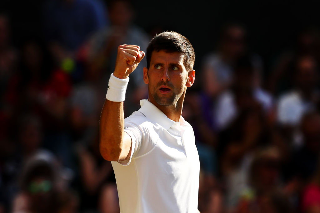 Novak Djokovic celebrates his victory over Ernests Gulbis. Photo Getty