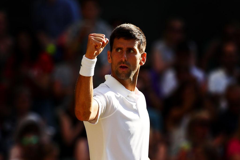 Novak Djokovic celebrates his victory over Ernests Gulbis. Photo Getty
