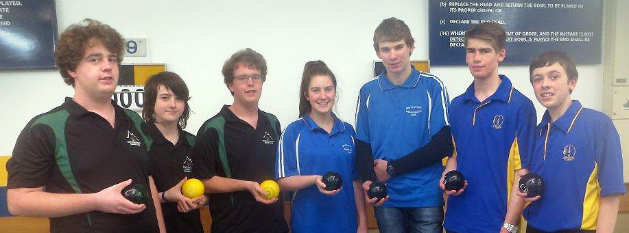Junior indoor bowlers (from left) Cameron Ellis, Caleb Angow, David Ellis (South Canterbury),...