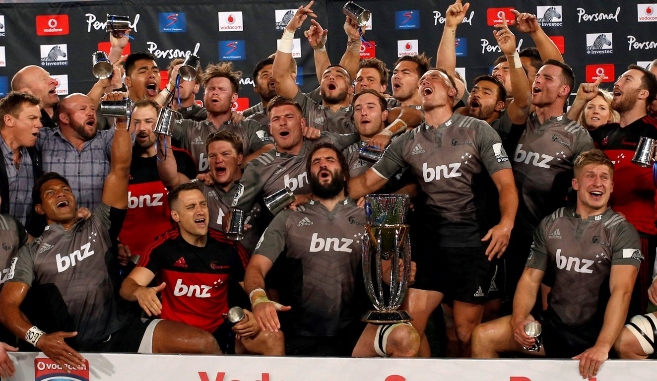 The Crusaders celebrate winning the Super Rugby title in Johannesburg at the weekend. Photo Reuters