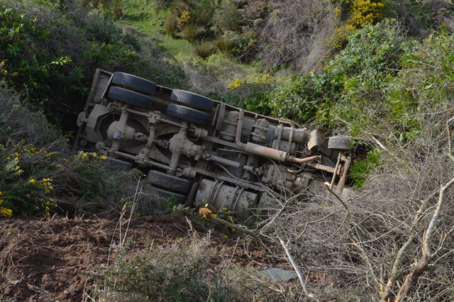 Truck rolls near Portobello