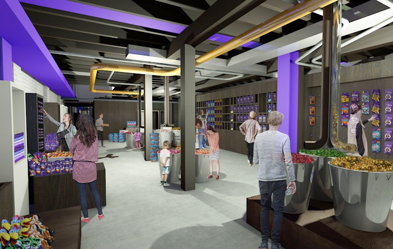 An artist's impression of what the retail area will look like in Dunedin's redeveloped Cadbury World. Image: Supplied