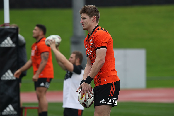 Jordie Barrett at an All Blacks training session in Auckland last month. Photo Getty