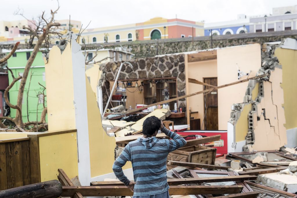 Homes damaged by Hurricane Maria in the La Perla neighbourhood in San Juan, Puerto Rico. Photo Getty