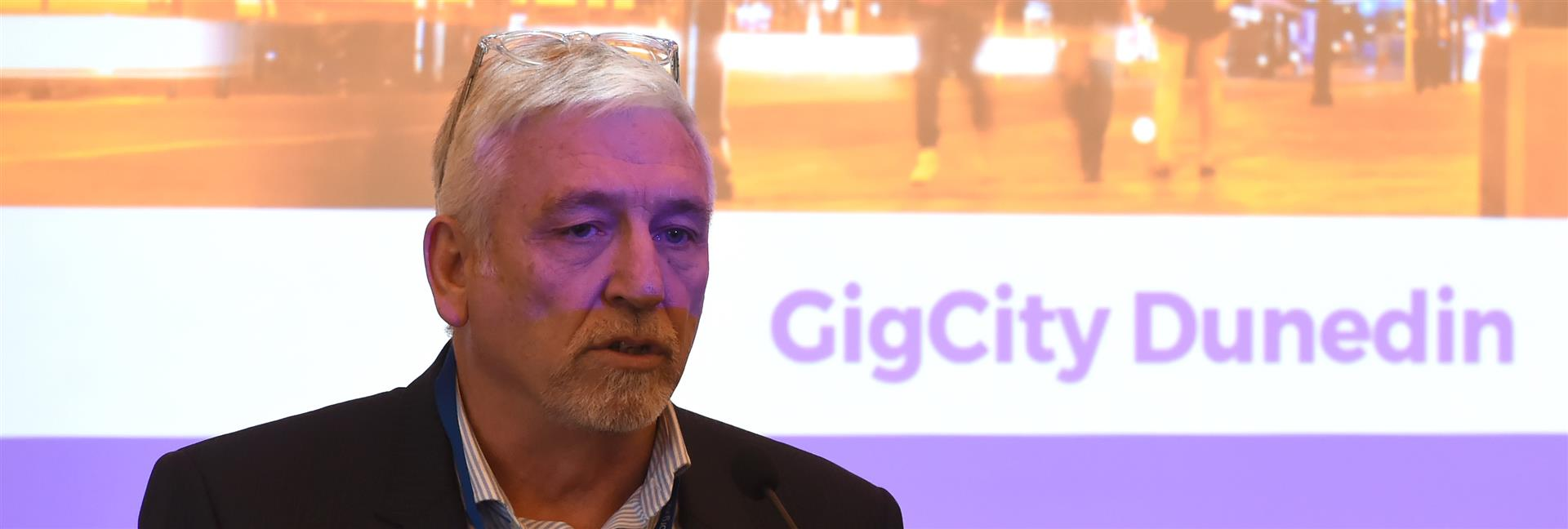 Digital Community Trust chairman John Gallaher outlines the past, present and future of GigCity. Photo: Gregor Richardson
