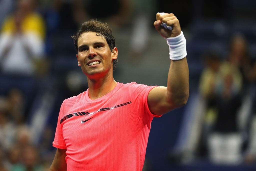 Rafael Nadal celebrates his win over Andrey Rublev. Photo: Getty Images