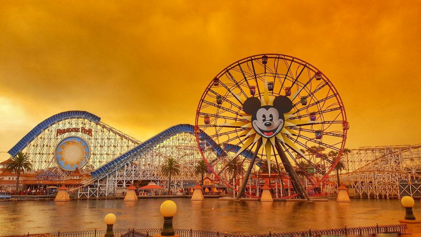 A view of Disneyland in Anaheim as wildfires rage across northern California. Photo: Reuters...