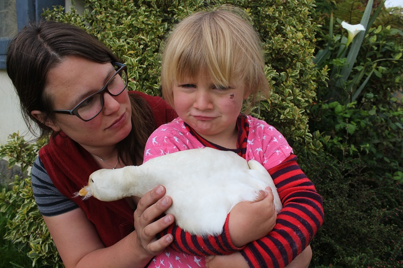 Dunollie resident Lisa Hamker and daughter Lottie (3) with Ming Li the duck, the only bird to...
